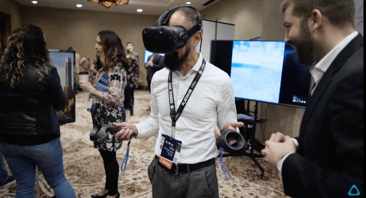 Über 20 Bürgermeister setzten sich die VR-Brille HTC Vive auf, um ein lebendiges 3D-Modell einer Stadt in der Virtual Reality zu managen.