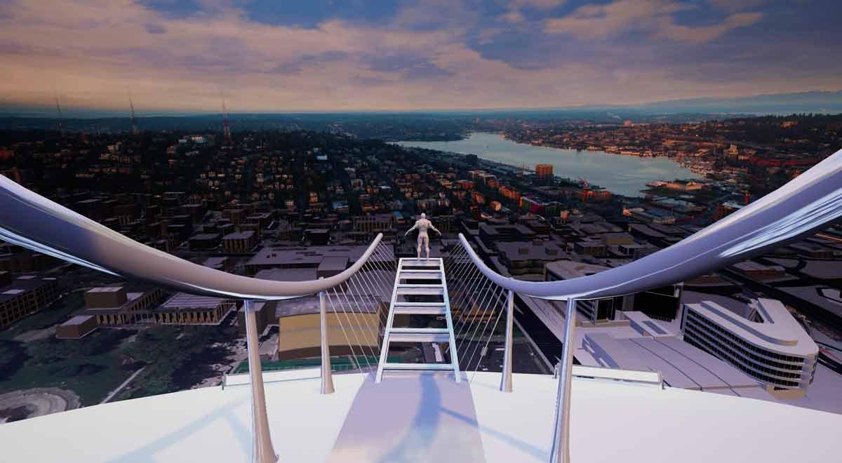 Marketing kann auch Spaß machen: ein virtueller Bungeesprung soll die Aufmerksamkeit auf die Virtual-Reality-Hauptstadt Seattle lenken.