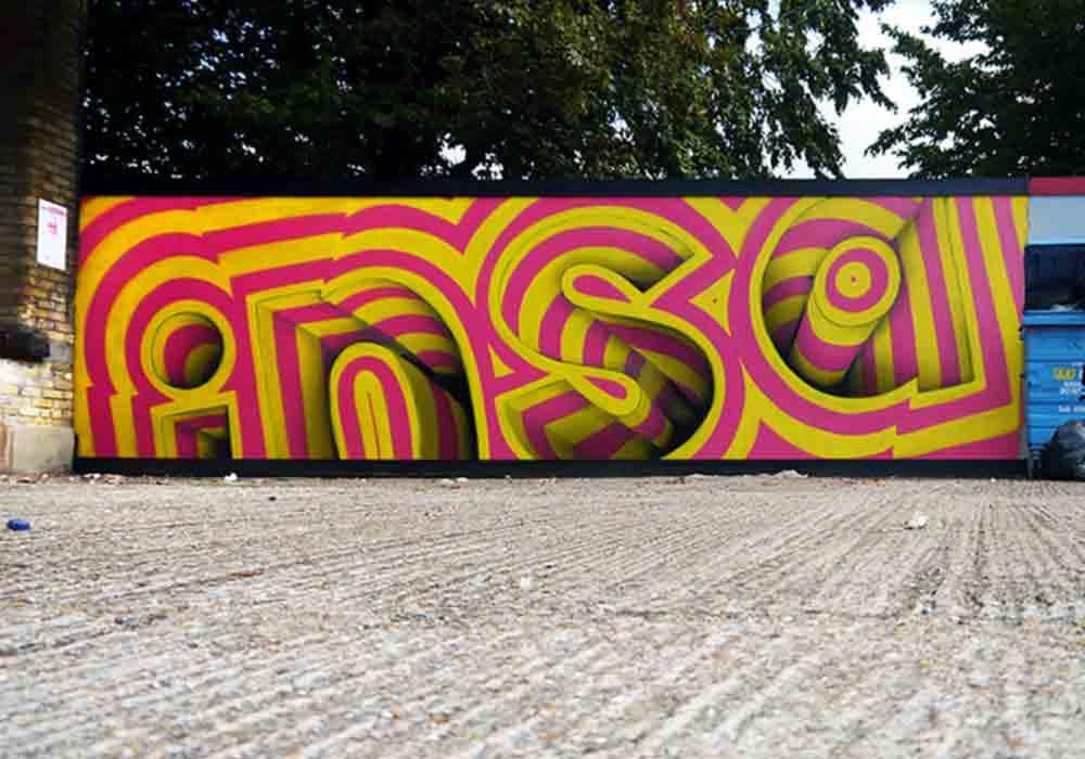 """Der britische Graffiti-Künstler Insa kreiert """"Gif-itis"""": Streetart, die sich mit Hilfe von Smartphone-AR in animierte Gif-Kunst verwandelt."""