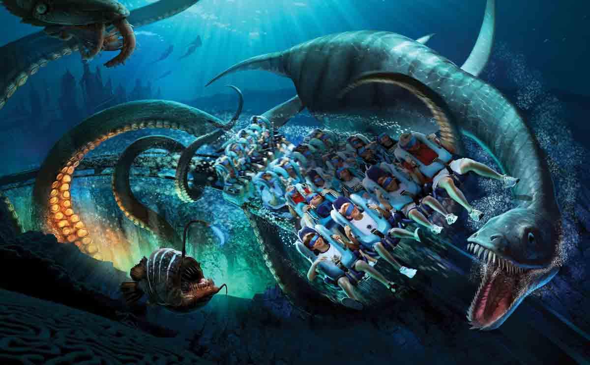 Besucher können mit einer VR-Brille in die Tiefen des Ozeans hinabsteigen, wo der legendäre Kraken auf sie wartet.