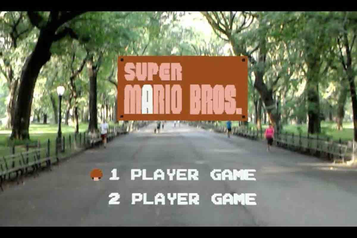 Das Szenario im New Yorker Central Park erinnert an einen virtuellen Trimm-Dich-Pfad mit Super-Mario-Thematik.