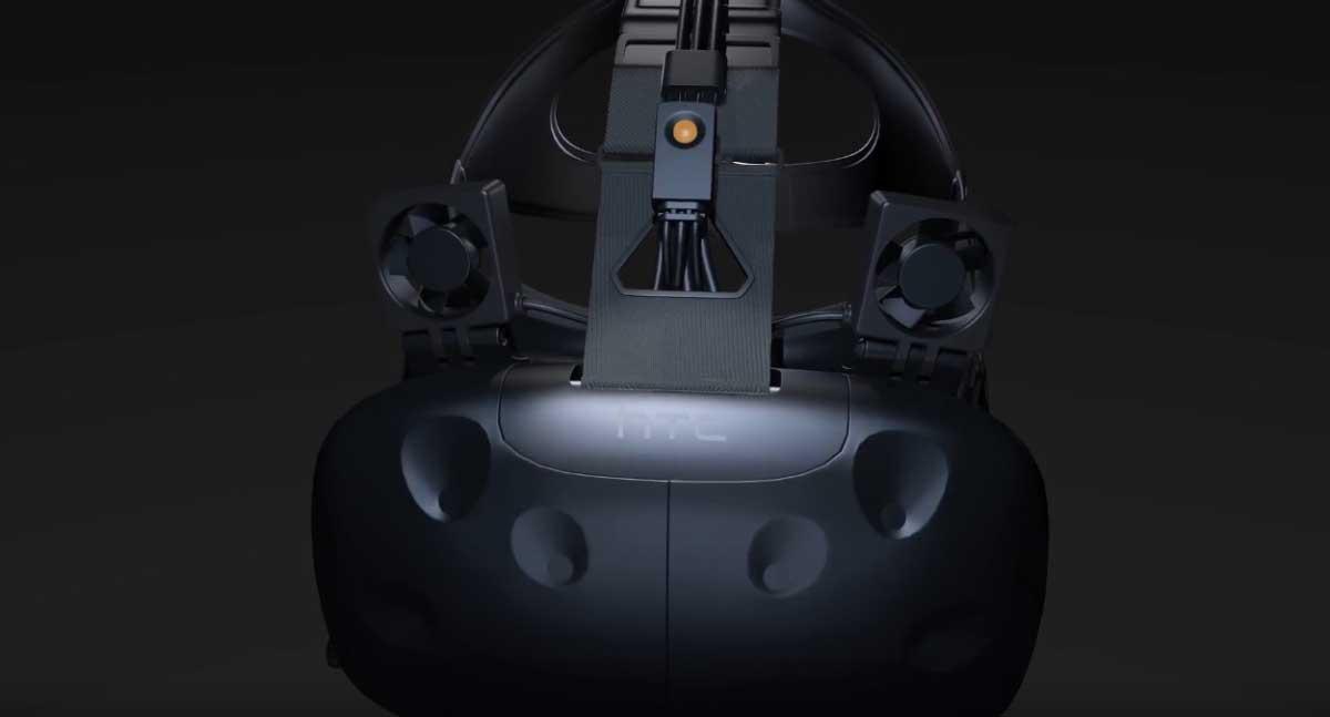 Damit beim Spielen mit HTC Vive der Schweiß nicht rinnt, entwickelte ein Unternehmen ansteckbare Ventilatoren, die dem Nutzer Kühlung zufächeln.