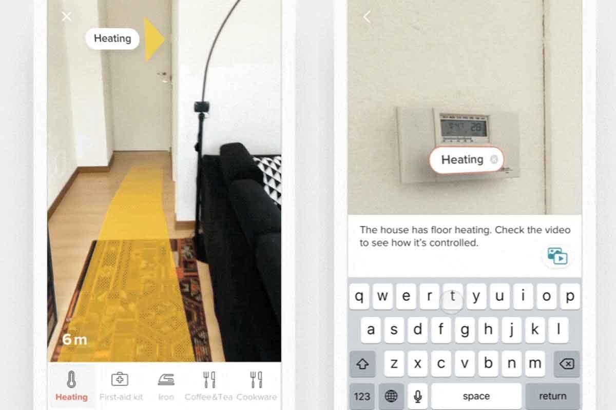 Eine Designstudie zeigt, wie eine AR-App Airbnb-Vermietern ermöglichen könnte, Gäste in Abwesenheit auf Besonderheiten der Wohnung hinzuweisen.