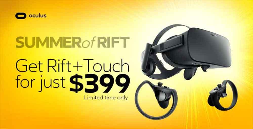 Oculus senkt die Preise für Hardware: Statt für 598 US-Dollar erhält man Oculus Rift und Touch zeitlich limitiert für 399 US-Dollar.