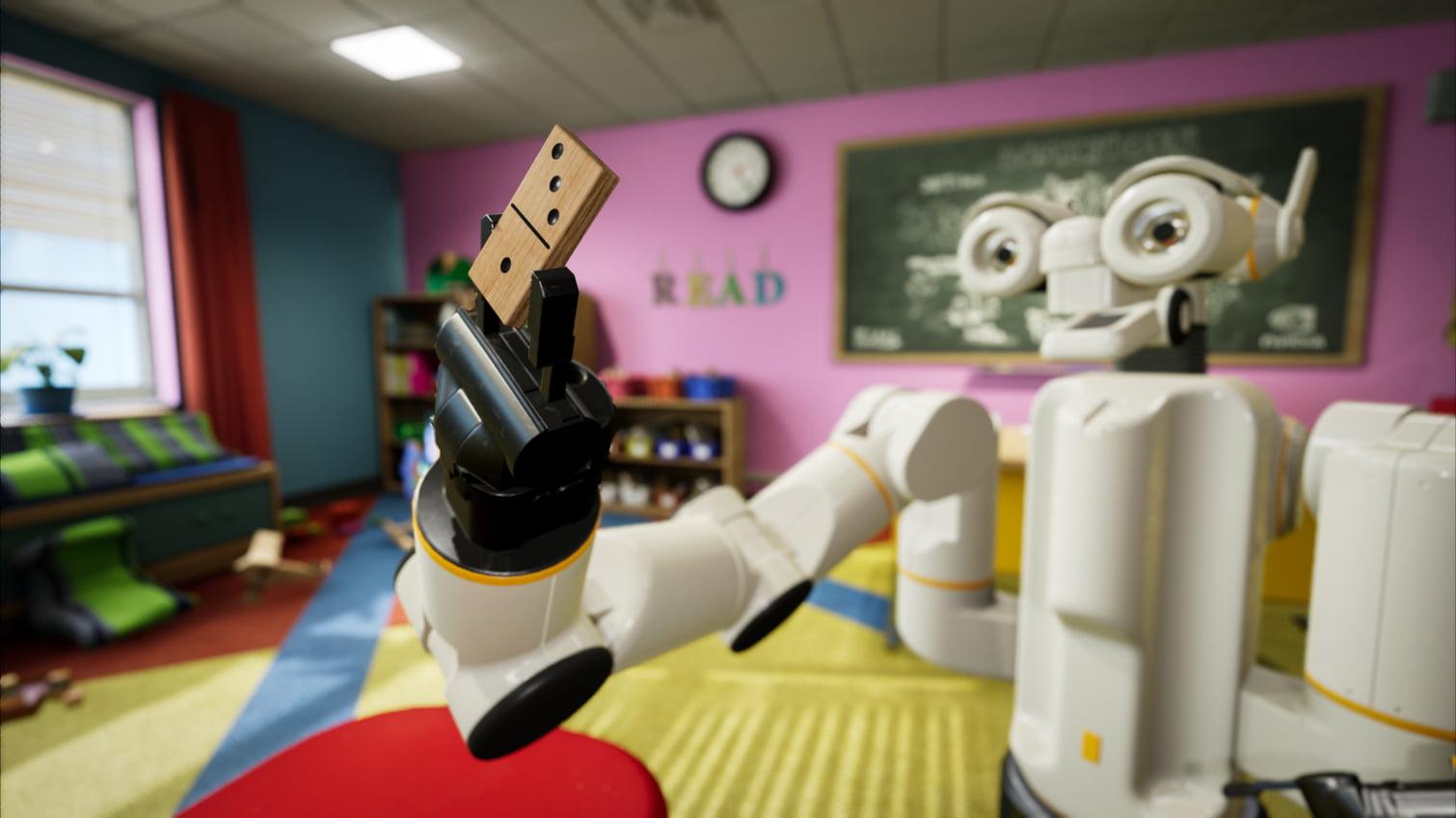 Nvidia nutzt die eigene VR-Kollaborationsplattform, um unter sicheren Bedingungen mit einem KI-gesteuerten Roboter zu interagieren.