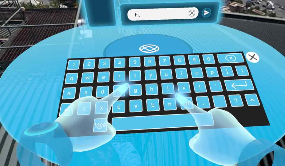Tippen auf der virtuellen Tastatur mit dem Zwei-Finger-Suchsystem. Bild: VRODO