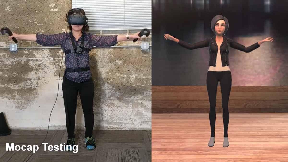 Mit vier Vive-Trackern kann die Körpersprache einer Person nahtlos auf einen Avatar in der Virtual Reality übertragen werden.