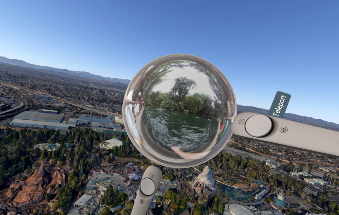 Ab sofort kann man auf seinen virtuellen Reisen innehalten und in immersive 360-Grad-Aufnahmen von Google Street View wechseln.