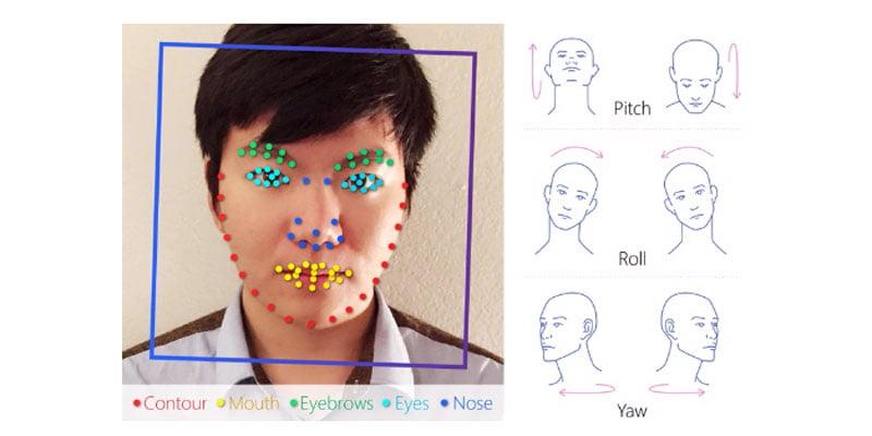 Der Algorithmus im Einsatz. Augenbrauen, Augen, Nase, Lippen und Kiefer wurden analysiert. Bild: Stanford