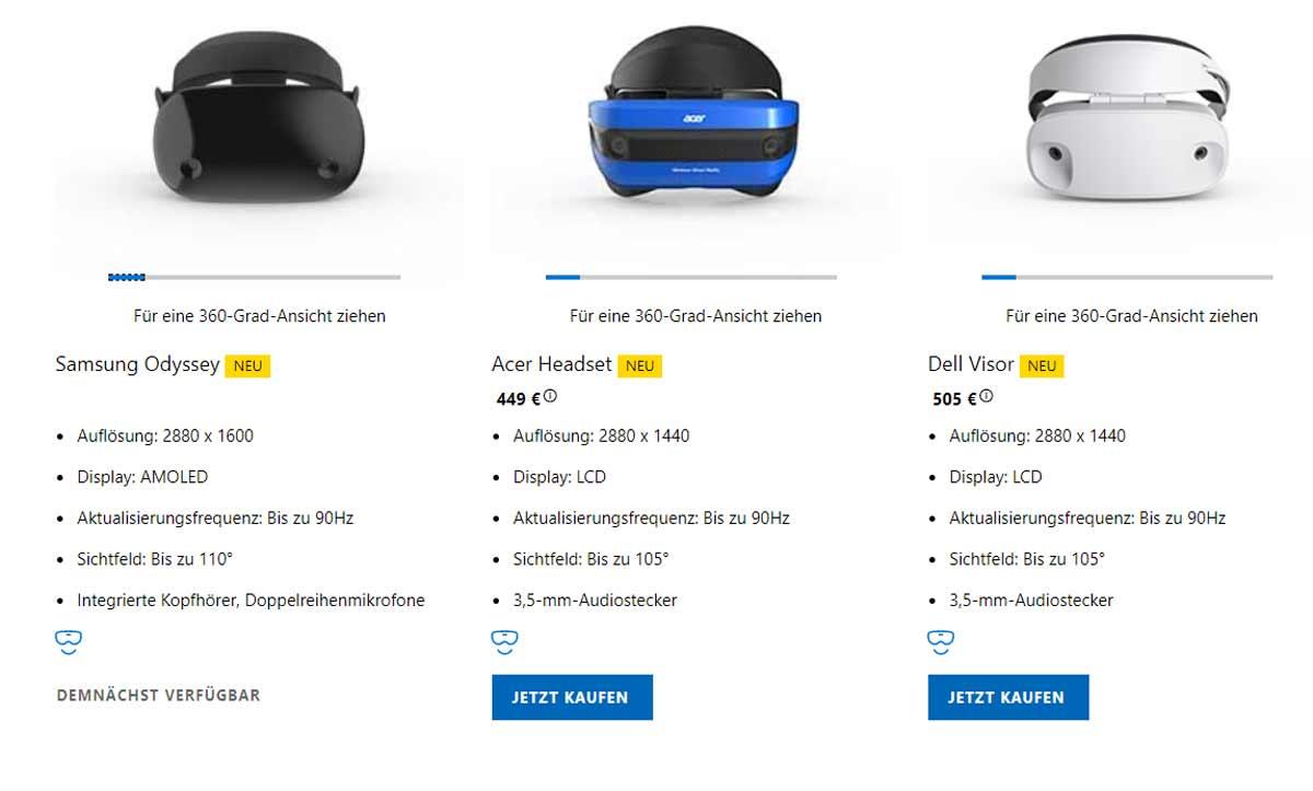 Die Vorbestellungen für die Windows-VR-Brillen starten in Deutschland. Samsungs Highend-Brille Odyssey ist noch nicht dabei.