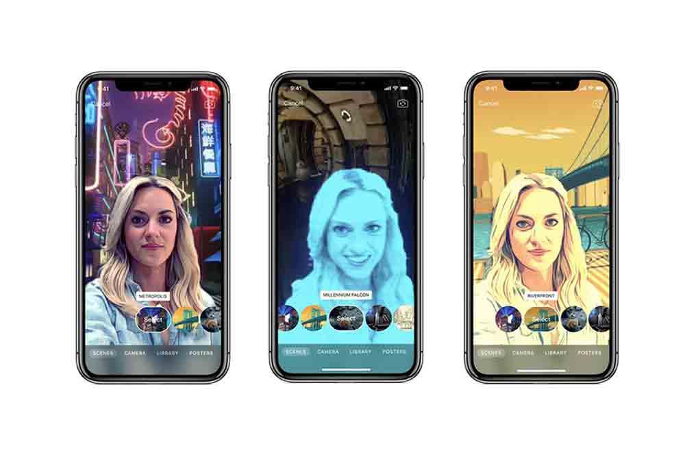"""Die neue Version von Apple """"Clips"""" integriert Anwender mit dem Tiefensensor des iPhone X in eine 360-Grad-Kulisse."""