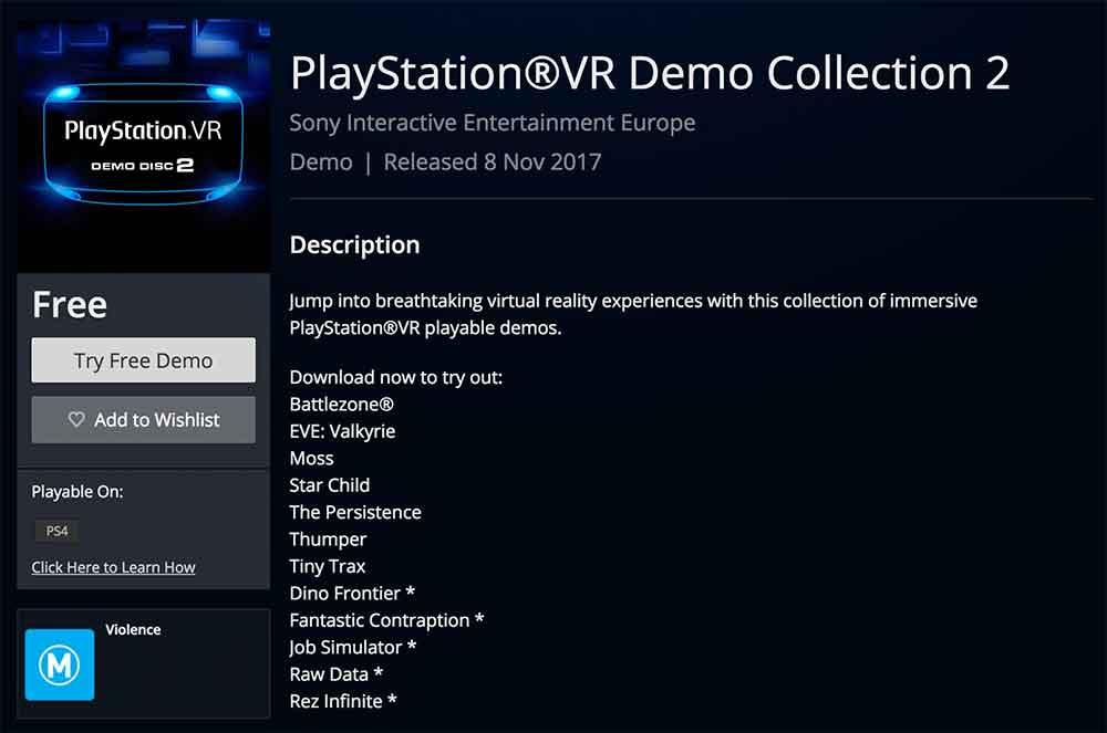 Playstation VR: Kostenlose Demos kommender Spielehighlights verfügbar *Update*