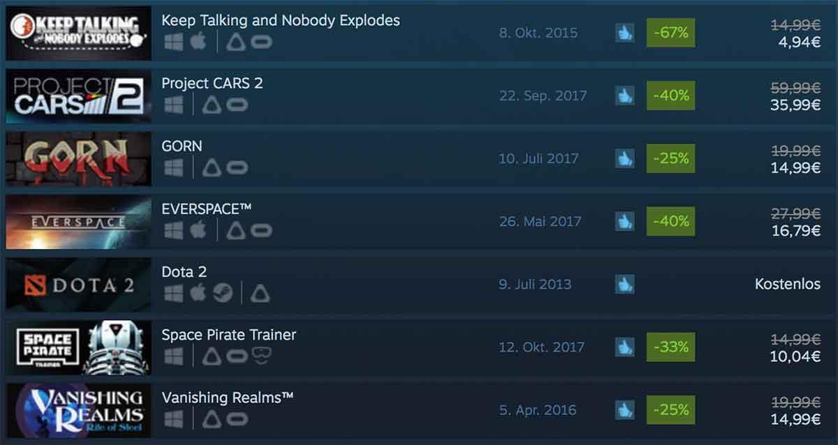 Der Steam Autumn Sale hat begonnen. Bis zum 28. November um 19 Uhr sind viele VR-Spiele- und Erfahrungen günstiger zu haben.