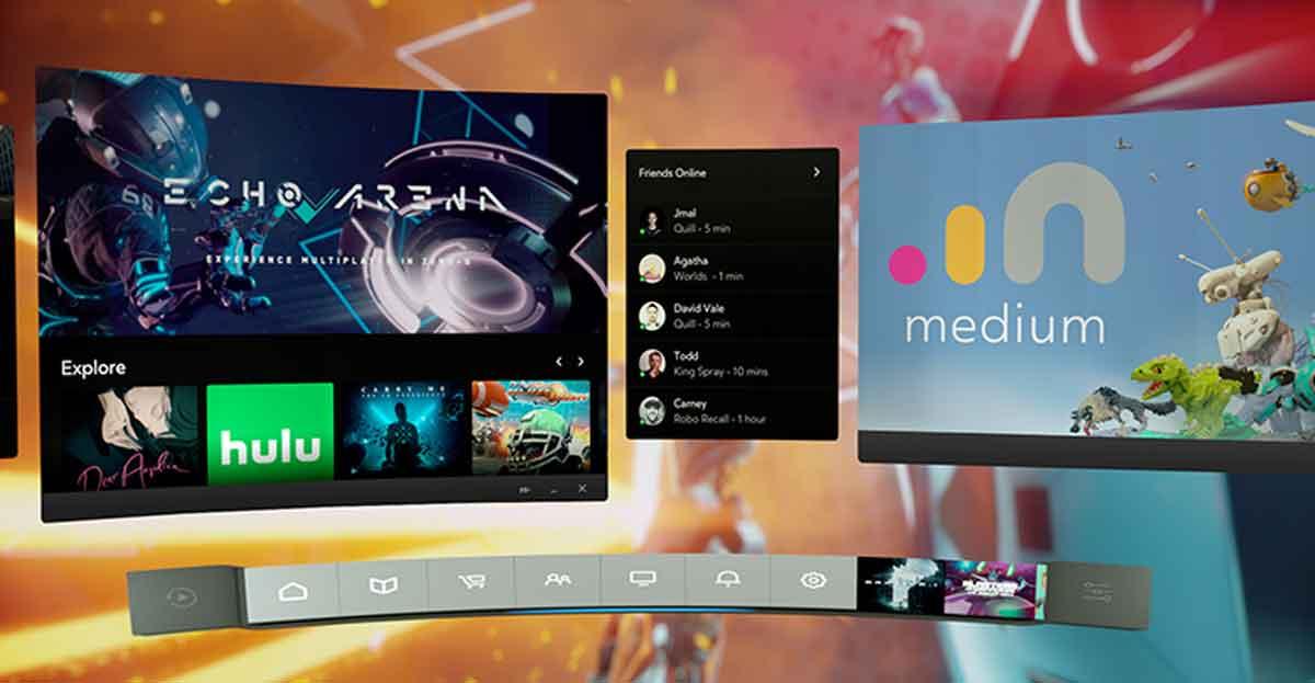 Blick auf das neue Oculus Dash, das in Echtzeit in der VR-Umgebung genutzt werden kann. Bild: Oculus