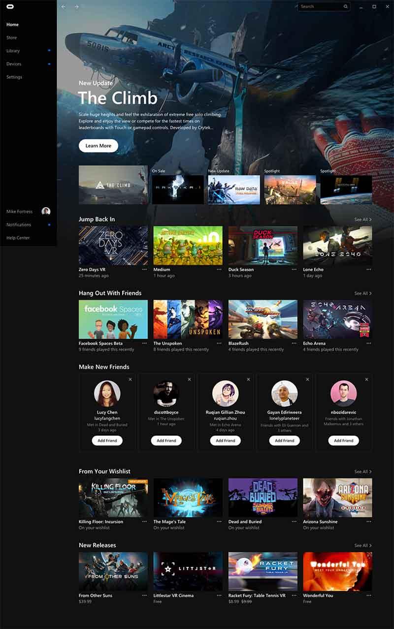 Blick auf den neuen Oculus Store. Bild: Oculus