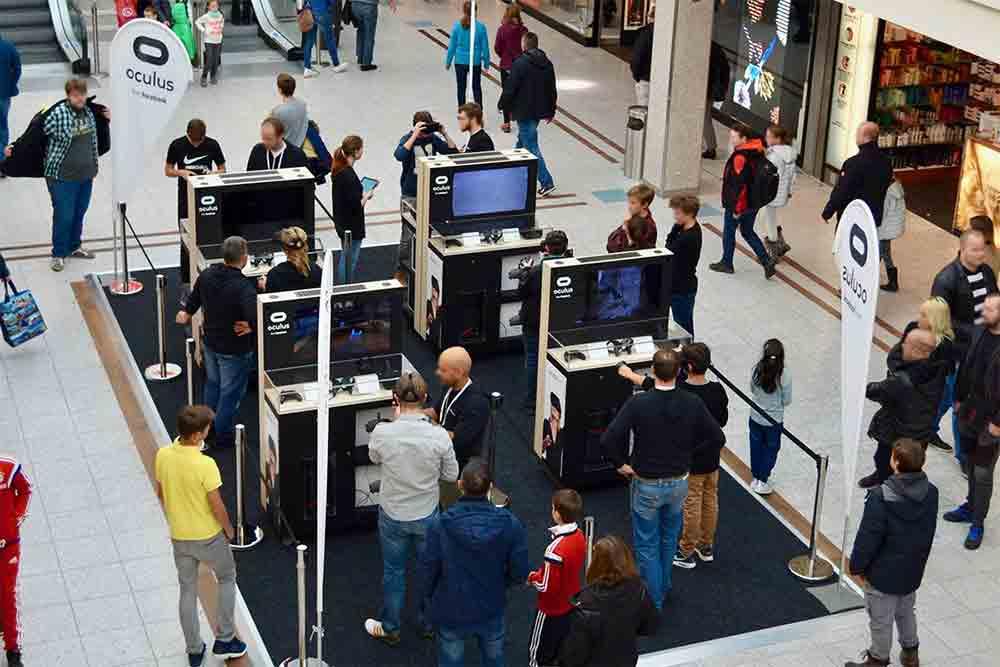 Vom 20. November bis 6. Januar tourt Oculus durch Deutschland und veranstaltet in ausgewählten Einkaufszentren VR-Wettkämpfe.