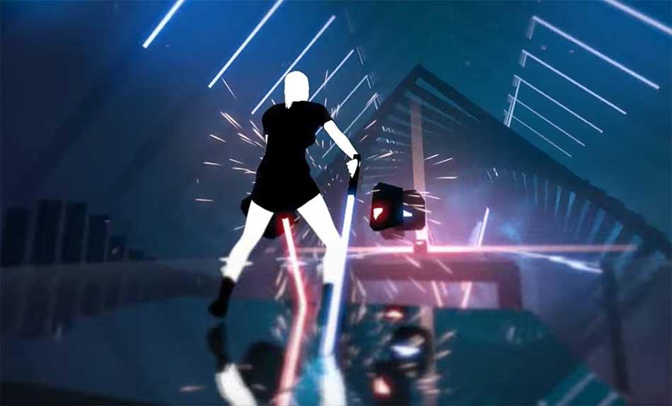 Musikspiele funktionieren besonders gut in der Virtual Reality. In der allerneuesten Variante geht es mit Lichtschwertern ans Werk.