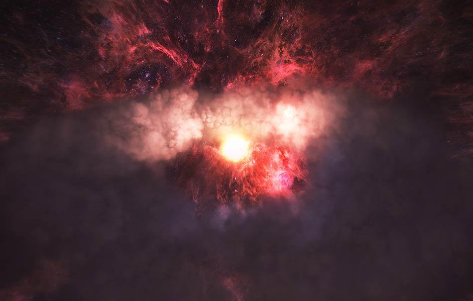 """In der klang- und bildgewaltigen VR-Erfahrung """"Spheres"""" werden Zuschauer Zeuge einer Kollision schwarzer Löcher."""