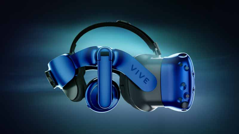 Seitenansicht der Vive-Pro mit Blick auf integrierte Kopfhörer sowie das ergonomischeren Kopfband. Bild: HTC