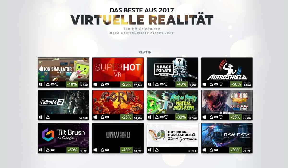 Zum Jahresanfang veröffentlicht Valve eine Liste der umsatzstärksten Virtual-Reality-Spiele 2017 bei SteamVR.
