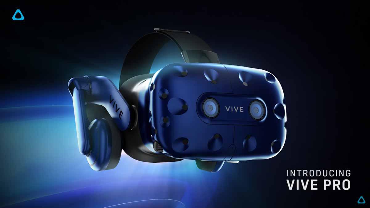 Auf der CES 2018 kündigt HTC Vive Pro an, eine neue Version der VR-Brille HTC Vive mit höherer Auflösung und besserem Tragekomfort.