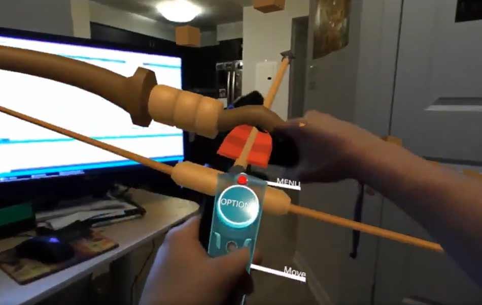 Ein Entwickler zeigt in einer kurzen Demo, wie eine mit einer Stereokamera erweiterte HTC Vive Realität und virtuelle Welt vermischt.