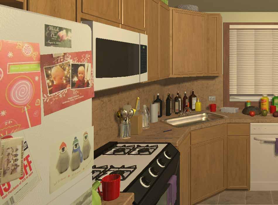 In einem virtuellen Zuhause trainiert die Künstliche Intelligenz Butler-Fähigkeiten: Laptop aufklappen, Toilettensitz hochklappen, Bier aus dem Kühlschrank holen.