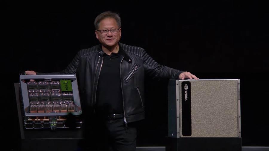 """Auf der """"GPU Technology Konferenz"""" stellte Nvidia den neuen Supercomputer DGX-2 vor, der maschinelle Lernverfahren beschleunigen soll. Künstliche Intelligenz dominierte die Eröffnungsrede von Nvidia-Chef Jensen Huang."""