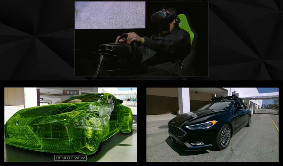 """Auf der von Nvidia geleiteten """"GPU Technology Konferenz"""" demonstrierte der Grafikchipspezialist Telepräsenz-Fahren: Ein eigentlich fahrerloses Auto wird mittels VR-Simulation gesteuert."""