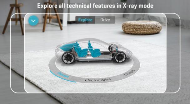 Der Röntgenblick zeigt das Auto unter dem Blech. Bild: Porsche