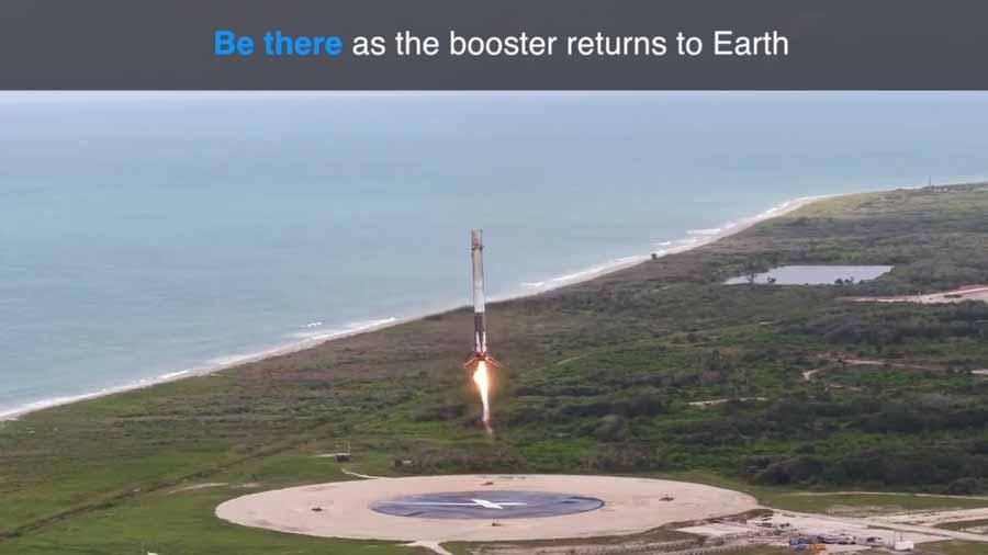 Die App verwendet GPS-Daten, um eine digitale Falcon 9 analog zur Flugbahn der realen Rakete in den Himmel zu schießen.