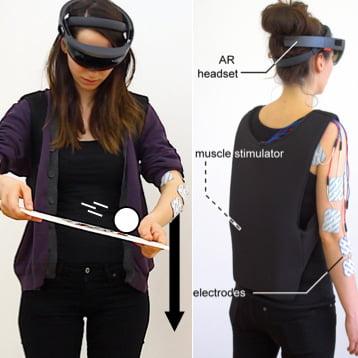 Wenn die Elektroden an den richtigen Muskeln sitzen, können sie den Arm mit sehr starker Stimulation sogar leicht beugen und strecken. Bild: HPI