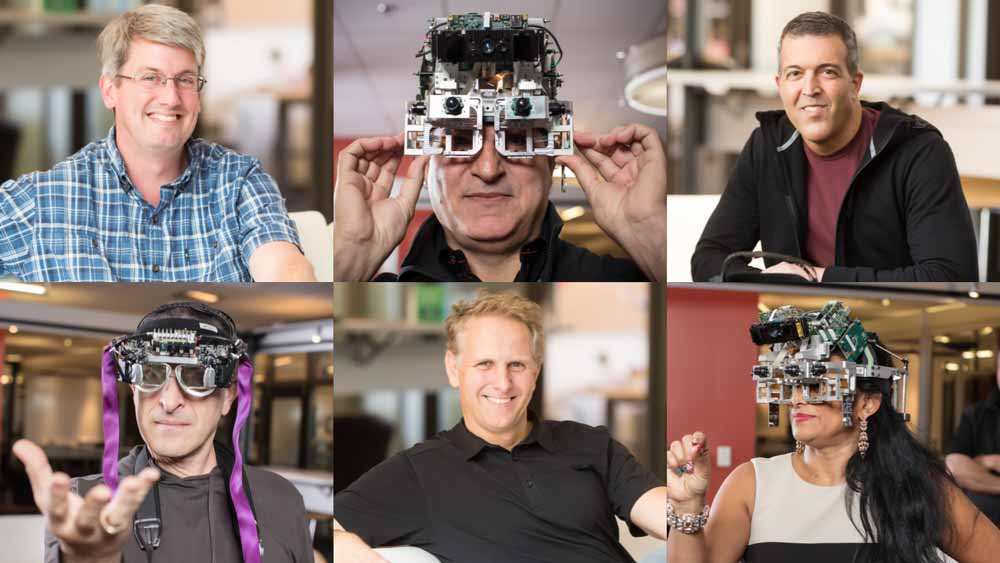 Microsofts Hololens-Team zeigt einige der Prototypen. Bild: Microsoft