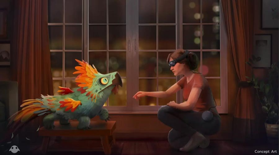 Spielkonzept: Der digitale Vogel reagiert auf die Annäherungsversuche des Brillenträgers. Bild: Magic Leap