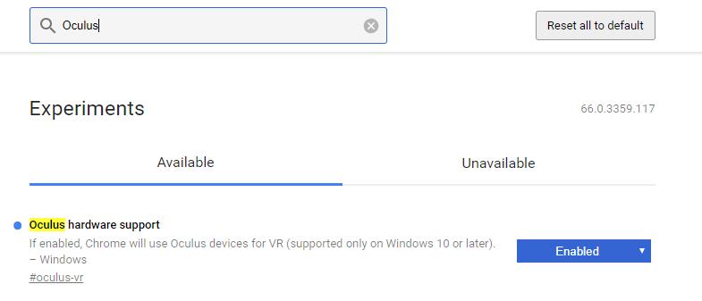 Hier versteckt sich die Oculus-Rift-Kompatibilität in Chrome.