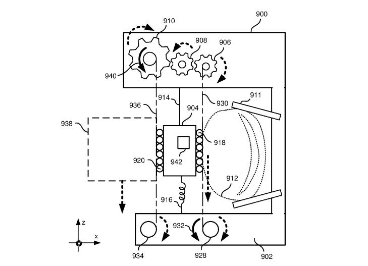 Eine sehr aufschlussreiche Patentskizze. Dank des Haut-Stretchers (911) könnt ihr virtuelles Obst fühlen wie nie zuvor. BILD: Oculus / USPTO