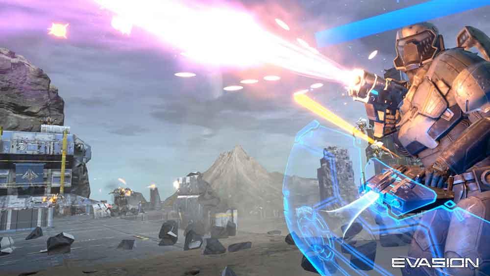 Das Sci-Fi-Spektakel Evasion soll durch Koop-Spielmechanik und fließende Fortbewegung ein besonders mitreißendes Action-Erlebnis bieten.
