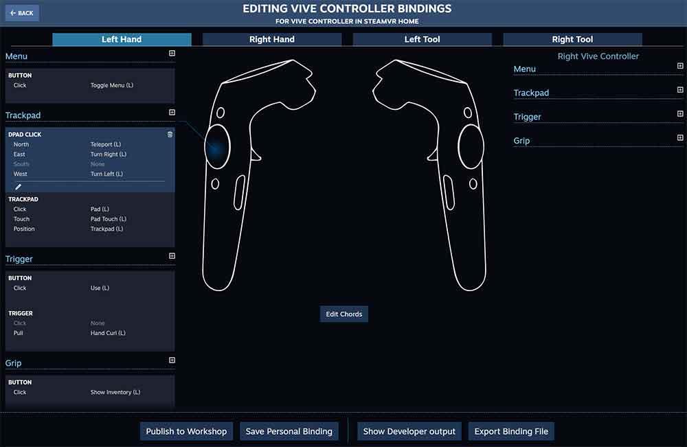SteamVR-Nutzer können jetzt die Tastenbelegung für jedes VR-Spiel und jeden VR-Controller individuell anpassen.