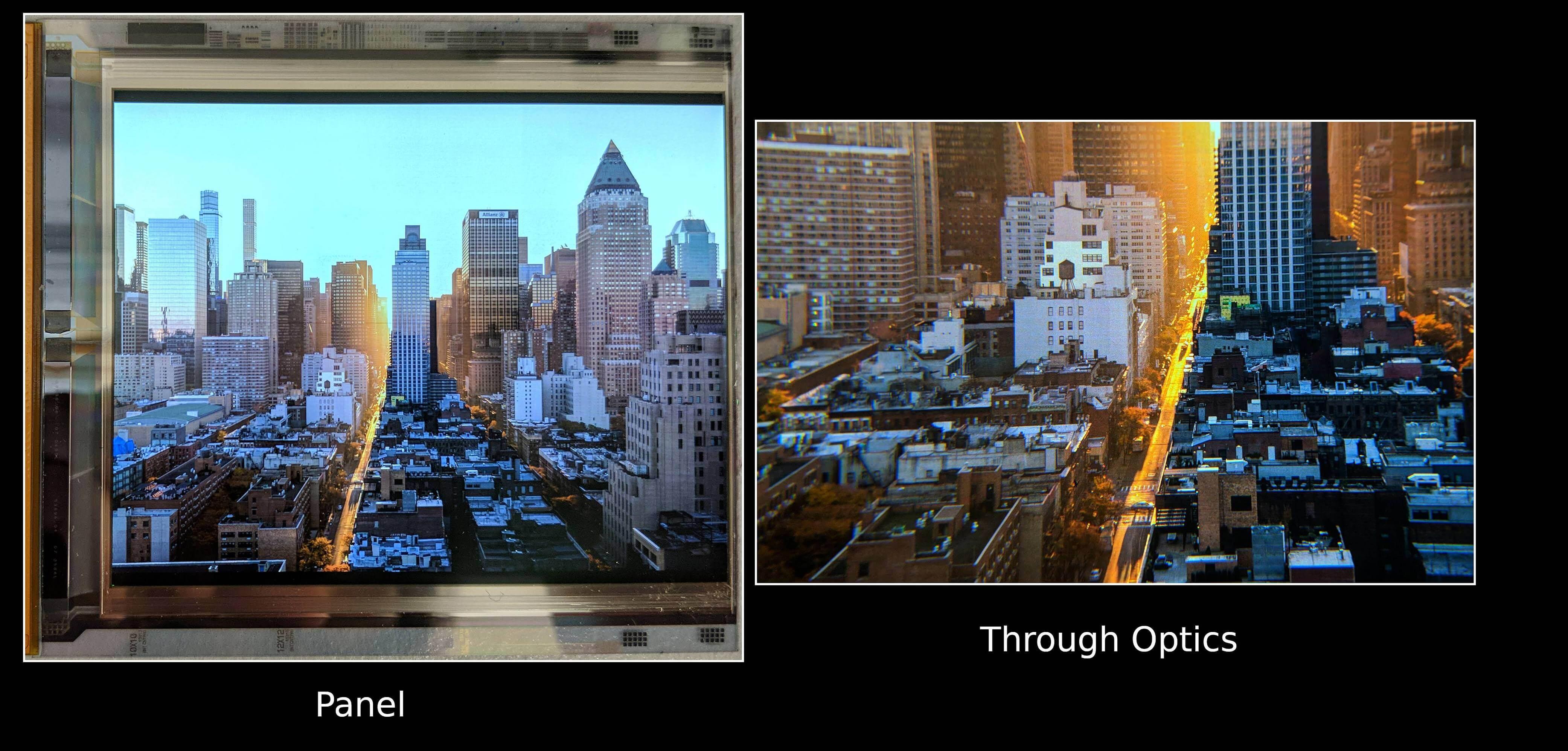 Das Bild zeigt das Display fotografiert durch die Linsen einer VR-Brille. Bild: Google