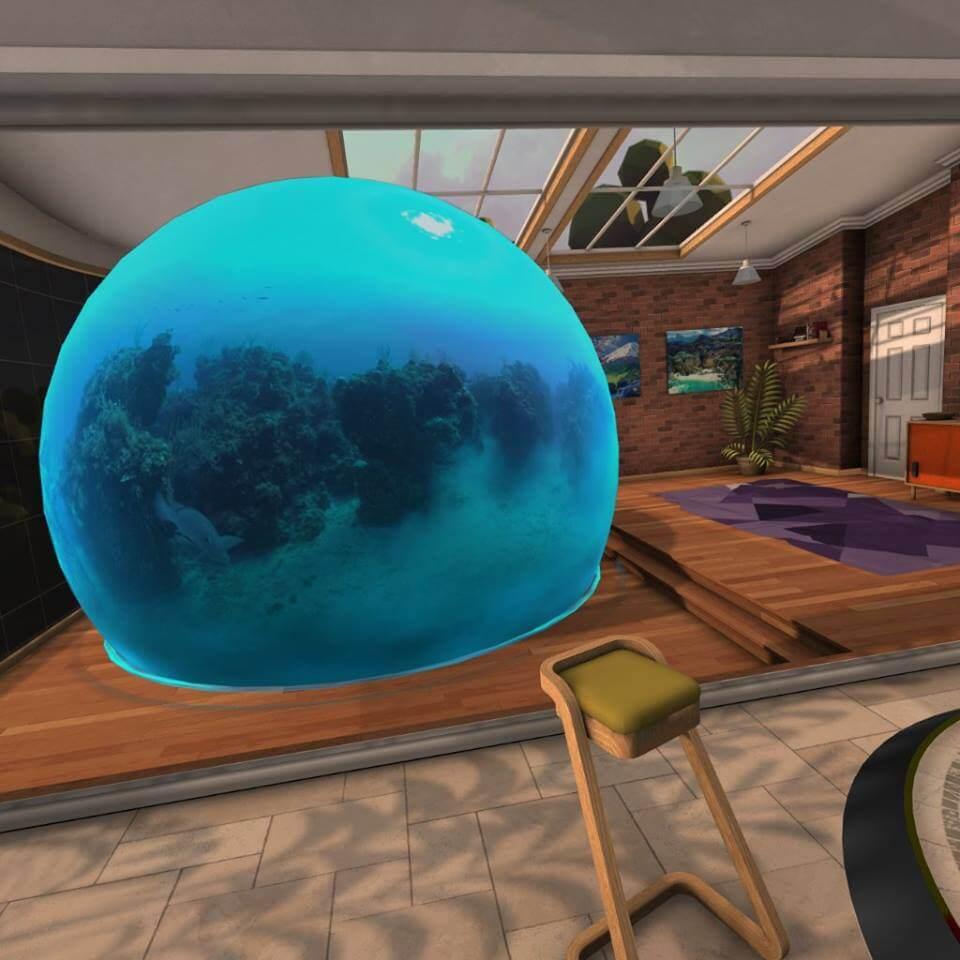Cooler Effekt: Ein 360-Video erscheint von außen betrachtet als große Blase im VR-Wohnzimmer. Bild: VRODO