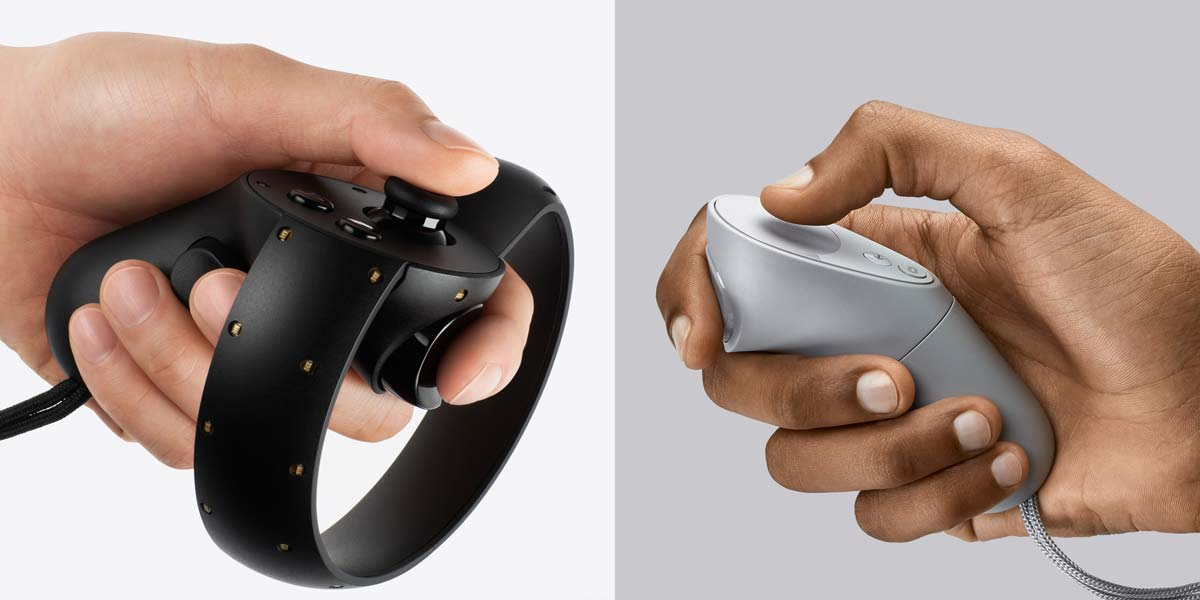 Der wohl größte Unterschied zwischen Rift und Go: Der Rift-Controller (links) verleiht virtuelle Hände. Mit dem Go-Controller (rechts) kann man nur auf Objekte zeigen. Bild: VRODO / Oculus
