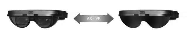 Ein Linsenaufsatz soll aus der transparenten AR-Brille eine blickdichte VR-Brille machen. Bild: AntVR