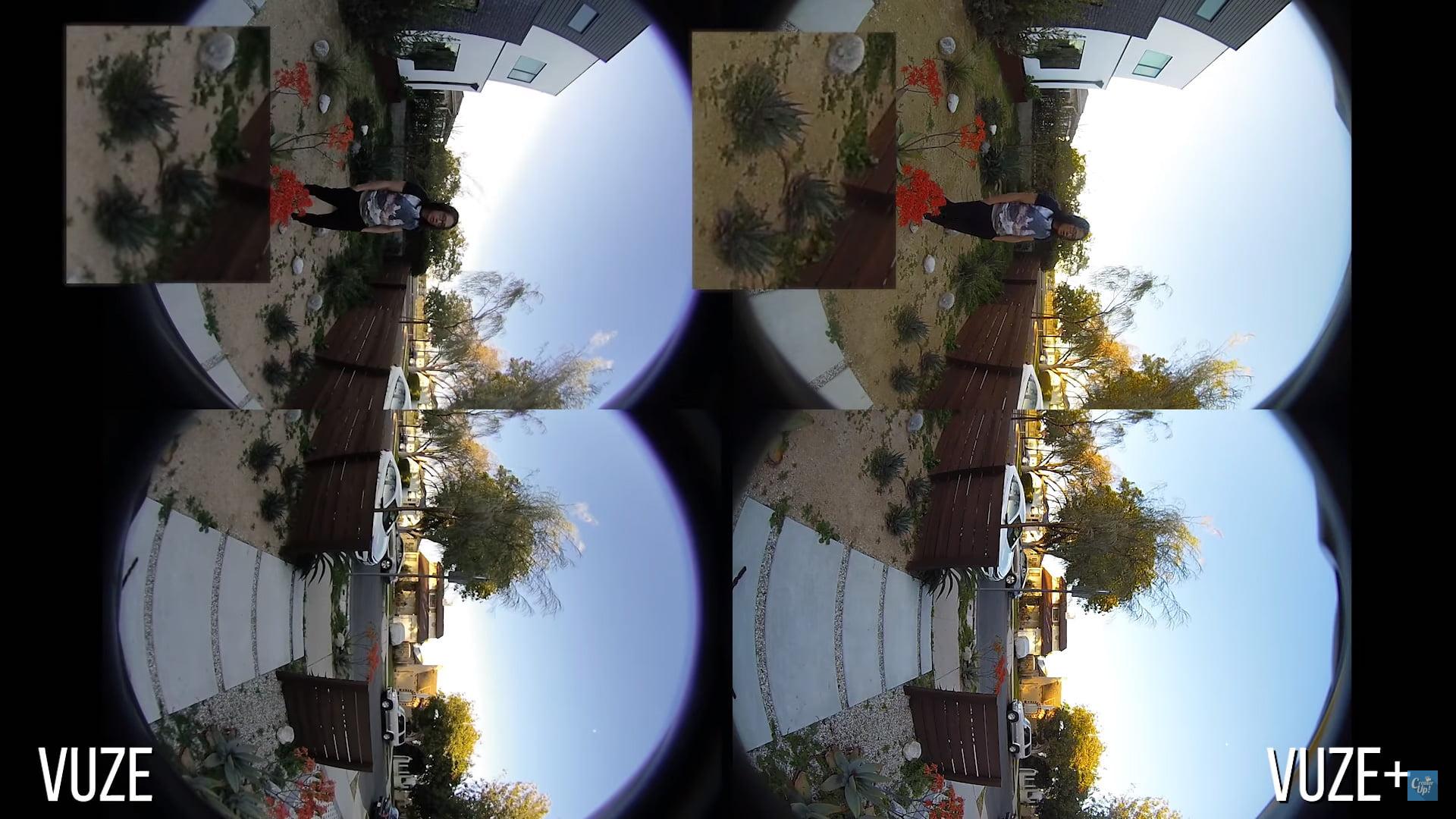 Links die normale Vuze-Kamera, rechts die neuen Vuze-Linsen. Bild: CreatorUp!, YouTube-Screenshot