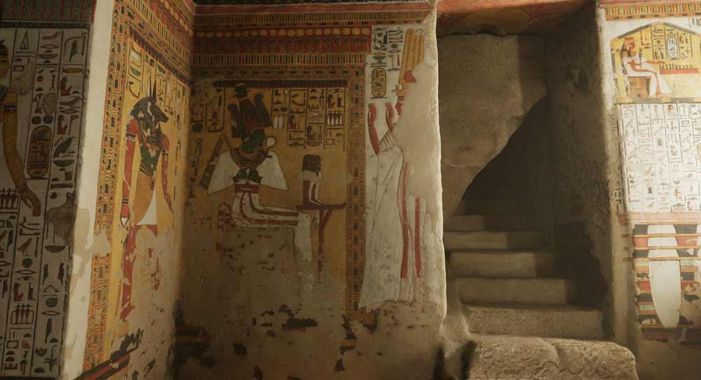 Die Grabkammer wird komplett in Echtzeit ausgeleuchtet. Das macht das VR-Erlebnis viel realistischer.