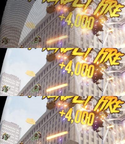 Das Bild oben zeigt die Ansicht mit reduzierten Pixeln, das in der Mitte die rekonstruierte Variante. Unten ist die unveränderte Aufnahme. Bild: Oculus
