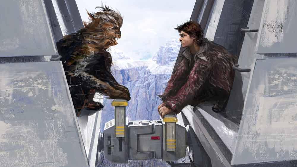 """Ist der Sprung machbar oder die Lücke zu weit? Der spektakuläre Zug-Stand aus dem neuen Star-Wars-Film """"Solo"""" wurde in der Virtual Reality auf Machbarkeit getestet. Der Gestalter sprang mit der VR-Brille auf dem Kopf einfach selbst über die Lücke."""