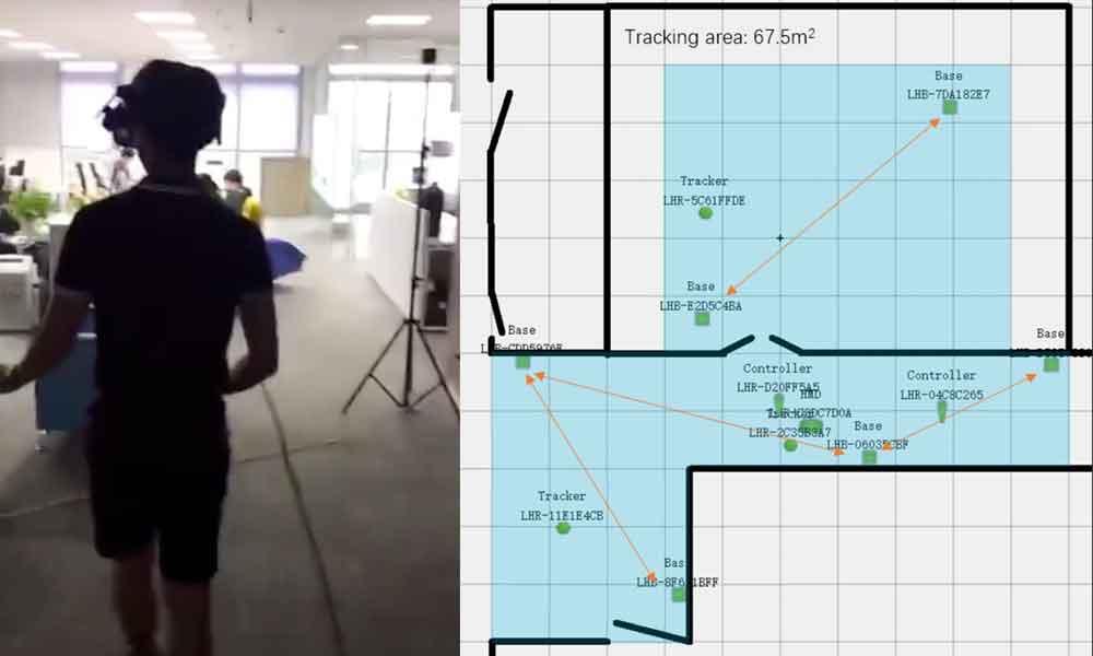 In einem Video demonstriert Vive-Manager Alvin Wang Graylin ein raumübergreifendes Trackingsetup mit sechs Basisstationen.