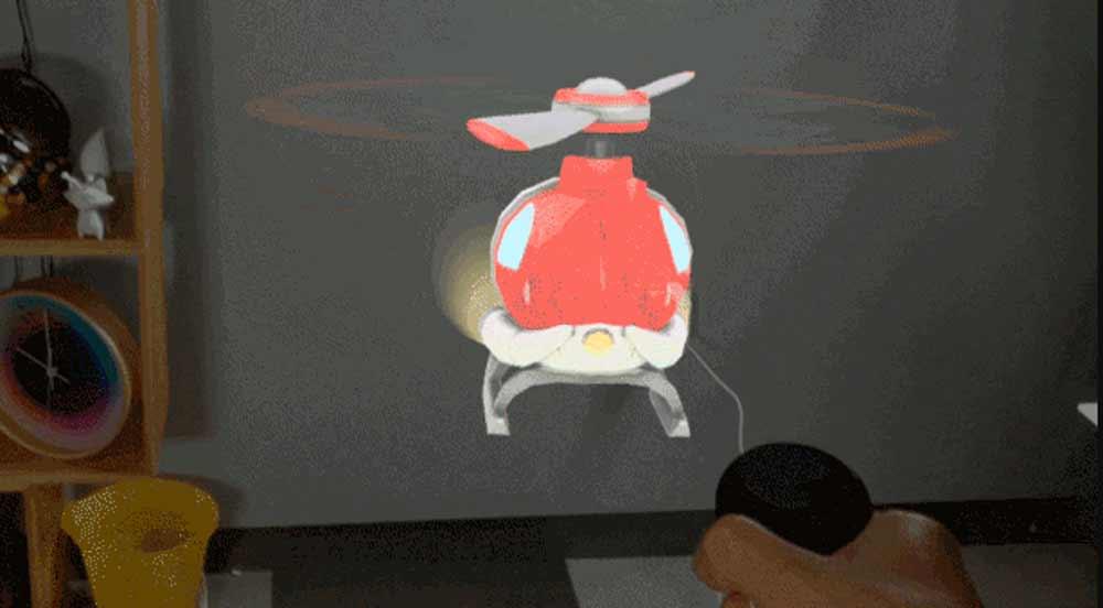 Nach dem Steinwurf ist vor dem ferngesteuerten Helikopter: Magic Leap demonstriert Entwicklern die Möglichkeiten der Leap-One-Brille anhand weiterer Demos.