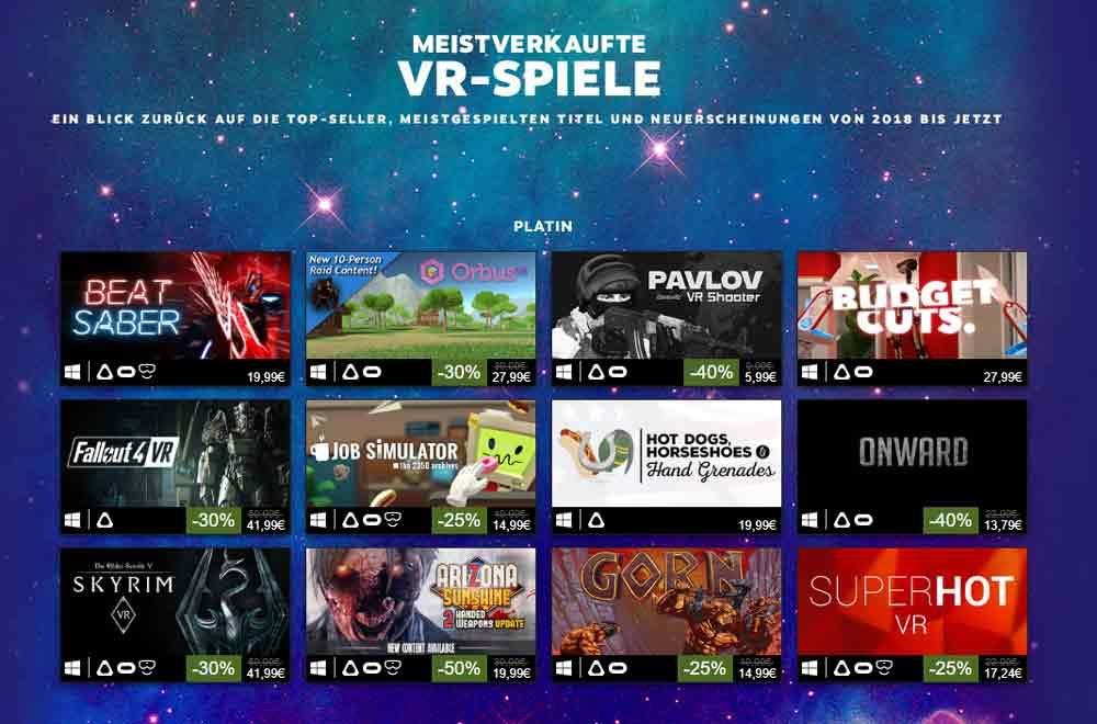 SteamVR: Beststeller 2018 und Angaben zum VR-Wachstum