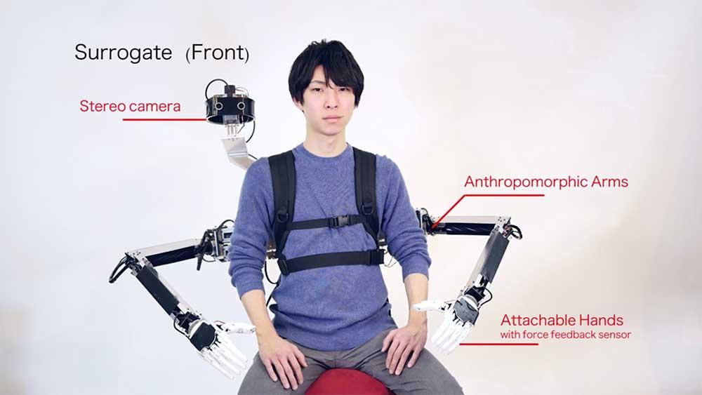 Ein Roboter verleiht einem Menschen zwei zusätzliche Arme. Gesteuert werden sie von einer zweiten Person mittels VR-Brille.